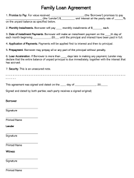Example Of An Agreement Free Family Loan Agreement Forms And Templates Word Pdf