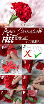 Paper Carnation Flower How To Make Carnation Paper Flower Free Template Easy