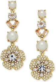 kate spade new york gold tone imitation pearl and crystal flower drop earrings