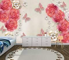 Pink 3D Rose Flower custom photomural ...