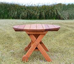 round picnic table with wheels options 3 5 diameter no seating redwood