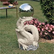 dragon garden statues. Classic Dragon Gargoyle Statue With Shining Ball Garden Statues L