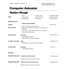Mahlon Waugh Computer Animator Resume
