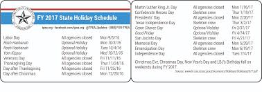 State Employee Holidays for FY 2017