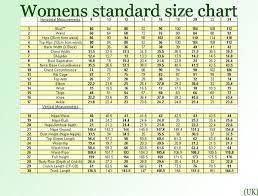 Standard Uk Womens Size Chart Zodomo Com Ayucar Com
