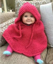 knitted hooded baby poncho pattern