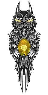 эскиз тату сова филин сова с кубом эскиз татуировки Cube куб