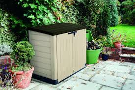 com keter it out max 4 8 x 2 7 outdoor resin horizontal storage shed garden outdoor
