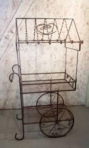 33 wrought iron flower cart plant stand pot holder