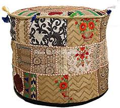DK Homewares Indian Vintage Patchwork Pouffe ... - Amazon.com