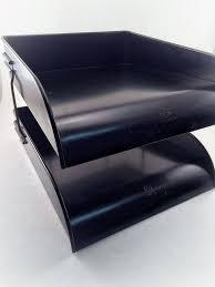 industirial file tray metal desk organizer 2 tier vintage globe wernicke metal desk tray mid century