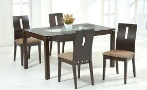 beautiful dark brown wood glass modern design interior wooden dining table glass top rectangular brown seat black wood dining room