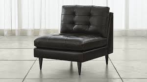armless leather chairs. Petrie Leather Midcentury Armless Chair In Sectional Parts + Reviews | Crate And Barrel Chairs O