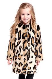 kid s collarless leopard faux fur stroller