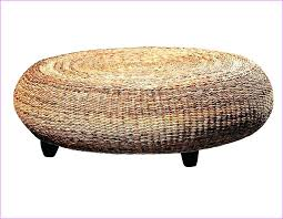 coffee table round natural seagrass ottoman