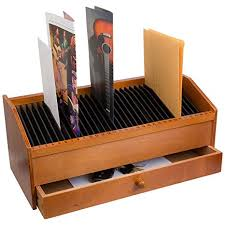 31 Slot Wooden Bill Letter Organizer With Drawer