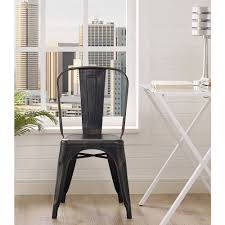 image of adeco tolix style matte silver grey metal dining bistro chair in metal cafe