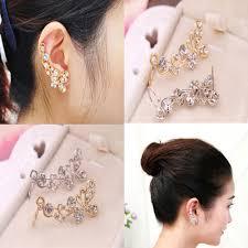 Women Punk Retro Leaf Ear Cuff Warp Clip Ear Stud Earring Shopee