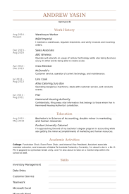 Warehouse Worker Resume samples - VisualCV resume samples database