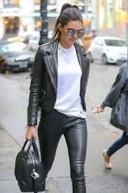 the best thing about leather jacket and leggings is that you can wear any top you like not only t shirts