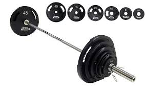 york barbell. york barbell 390 lb g-2 dual grip olympic weight set with bar \u0026 collars g