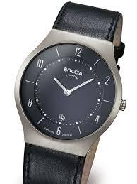 boccia mens thin quartz watch titanium case and sleek black list price 360 00