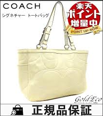 COACH gallery stitch patent leather tote bag F18326 off-white ivory patent  leather leather signature shoulder bag leather