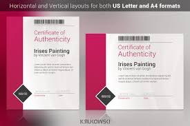 Certificate Of Authenticity Template Stationery Templates