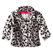 cherokee infant toddler girls plush black leopard print jacket faux fur coat com