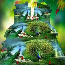 online get cheap green print sheets com alibaba group polyester green 3d aniamls peacock printed bedding set pillowcase sheet quilt bedsheet duvet cover pillowcase bed