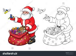 Santa Claus Coloring Book Pages With Page Birds Stock Vector Royalty