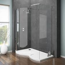 Brilliant Curved Shower Enclosures Uk Apollo Frameless Walkin Enclosure Intended Decor