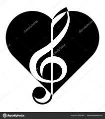 Hudba Houslový Klíč Srdce Abstrakce Tetování Stock Vektor