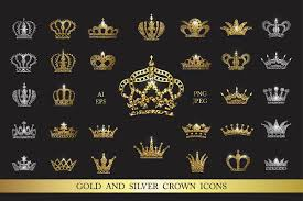 Silver Crown Designs Set Of Gold And Silver Crown Icons Icon Design Gold Crown