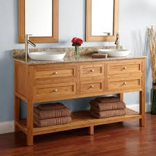 Bamboo Bathroom Sink 60 Thayer Bamboo Double Vanity For Semi Recessed Sinks Bathroom