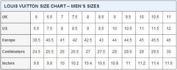 Louis Vuitton Size Chart In 2019 Louis Vuitton Shoe Size