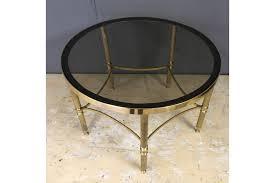 french brass smoke glass round coffee table photo
