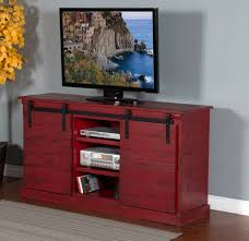 burnt red wood two shelves  inch tv console  entertainment