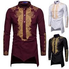 Totem Faith Wind Mens Bronzing Shirt Court Print Robe Long Sleeve Shirt