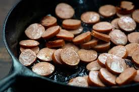 cooking smoked sausage in cast iron