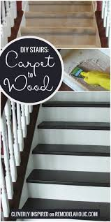 change your stairs from carpet to wooden treads with this tutorial by cleverly inspired featured