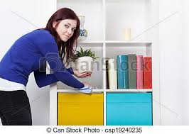 dusting furniture. Young Woman During Dusting - Csp19240235 Furniture