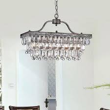 glass drop chandelier crystal 3 light antique silver free celeste tapered