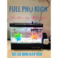 Bể cá cảnh 25cm , bể cá mini , hồ nuôi cá để bàn có đèn led và lọc thác -  tặng đồ trang trí bể nuôi cá cảnh chính hãng 368,000đ