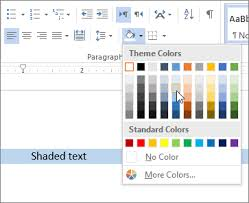 Word 2013 Themes Apply Shading To Words Or Paragraphs Word