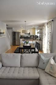 Furniture and living rooms Beige Kitchen Dining Room And Living Room All In One Good Layout Love The Use Of The Bench To Keep It Open And Easy To Walk Through Pinterest Kitchen Dining Room And Living Room All In One Good Layout Love