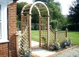 metal garden arch trellis with planters wooden planter