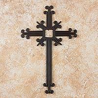iron wall cross love: wrought iron cross path of life black wrought iron wall cross artisan