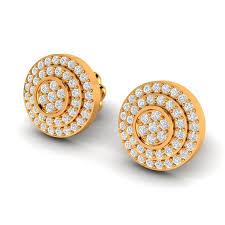 Diamond Round Earrings Designs Round Pave Diamond Stud Earrings