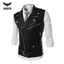 2019 whole 2016 new brand mens leather motorcycle vest harley mens leather vest red waistcoat steampunk rock slim zipper sleeveless jacke from